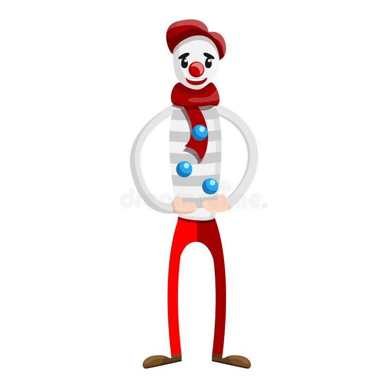 Icono del payaso del juglar del circo, estilo de la historieta stock de ilustración