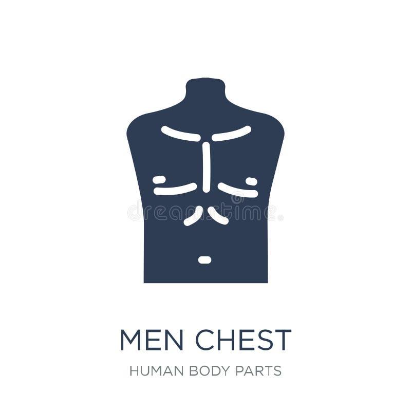 Icono del pecho de los hombres Icono plano de moda del pecho de los hombres del vector en el backg blanco stock de ilustración
