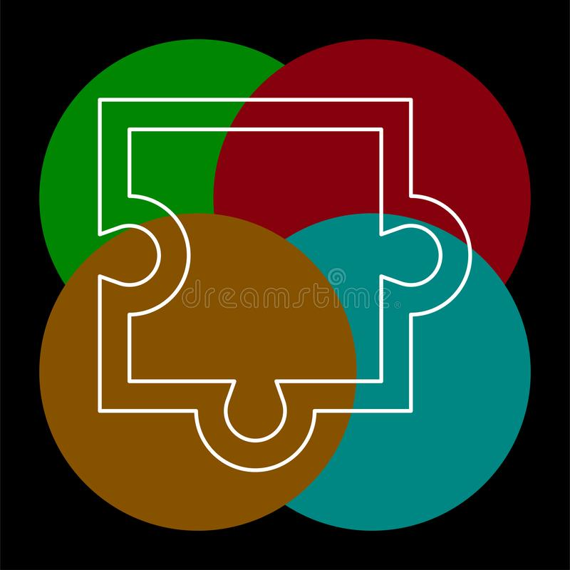Icono del pedazo del rompecabezas, ejemplo del rompecabezas del vector ilustración del vector