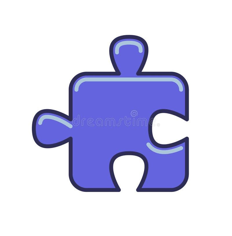 Icono del pedazo del rompecabezas Línea ejemplo coloreado del vector Aislado en el fondo blanco stock de ilustración