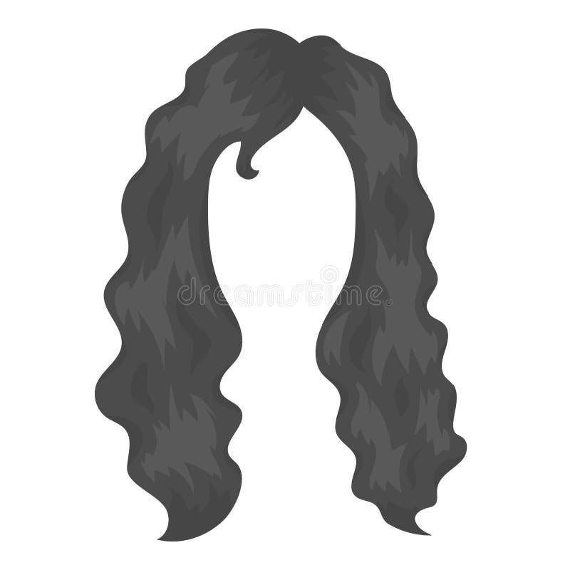 Icono del peinado de la mujer en estilo monocromático aislado en el fondo blanco Ejemplo del vector de la acción del símbolo de l libre illustration