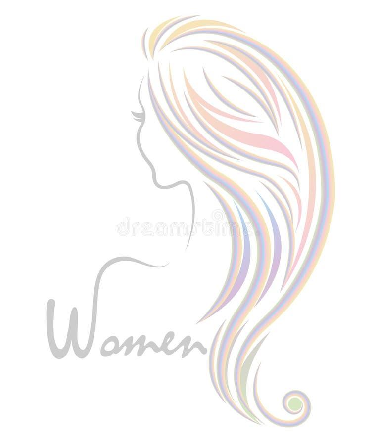 Icono del peinado del color de las mujeres, mujeres del logotipo en el fondo blanco ilustración del vector
