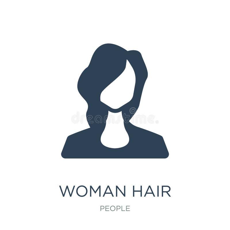 icono del pelo de la mujer en estilo de moda del diseño icono del pelo de la mujer aislado en el fondo blanco icono del vector de libre illustration