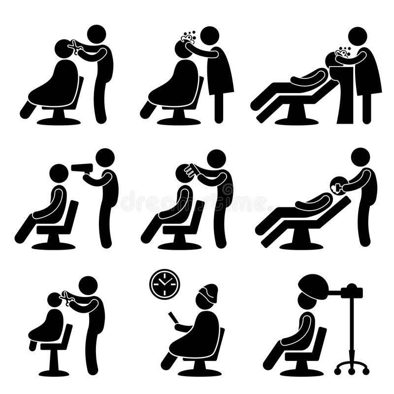 Icono del peluquero del salón de pelo del peluquero libre illustration