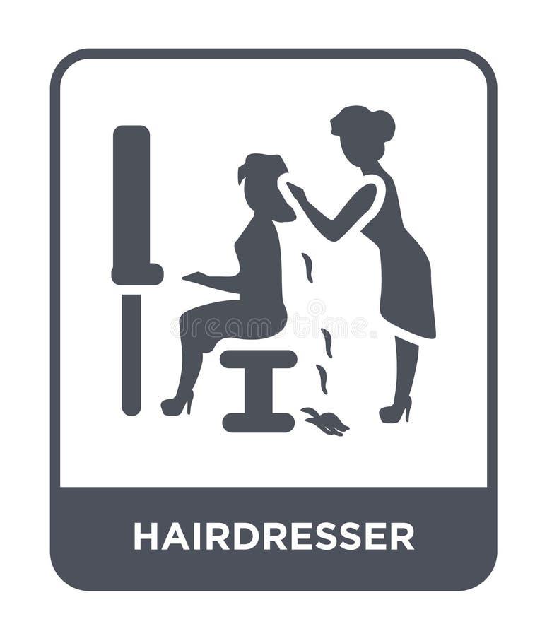icono del peluquero en estilo de moda del diseño Icono del peluquero aislado en el fondo blanco icono del vector del peluquero si libre illustration