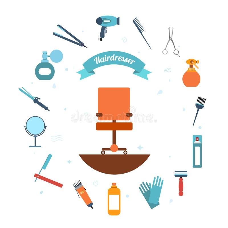 Icono del peluquero plano libre illustration