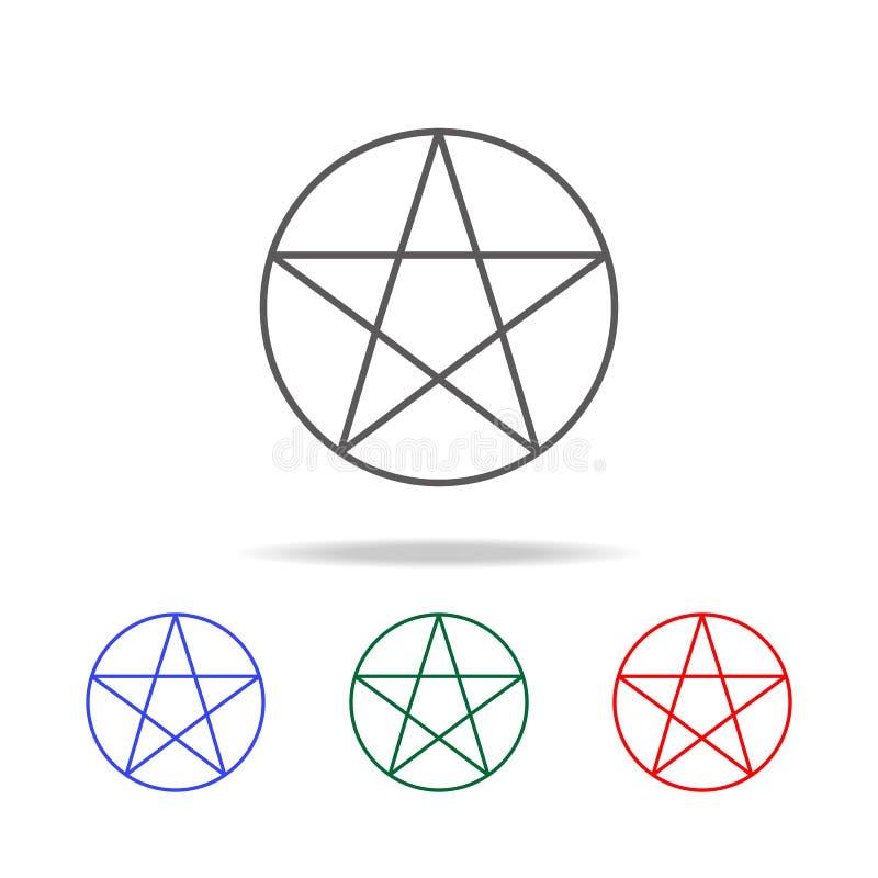 Icono del Pentagram Elementos de Halloween en iconos coloreados multi Icono superior del diseño gráfico de la calidad Icono simpl libre illustration