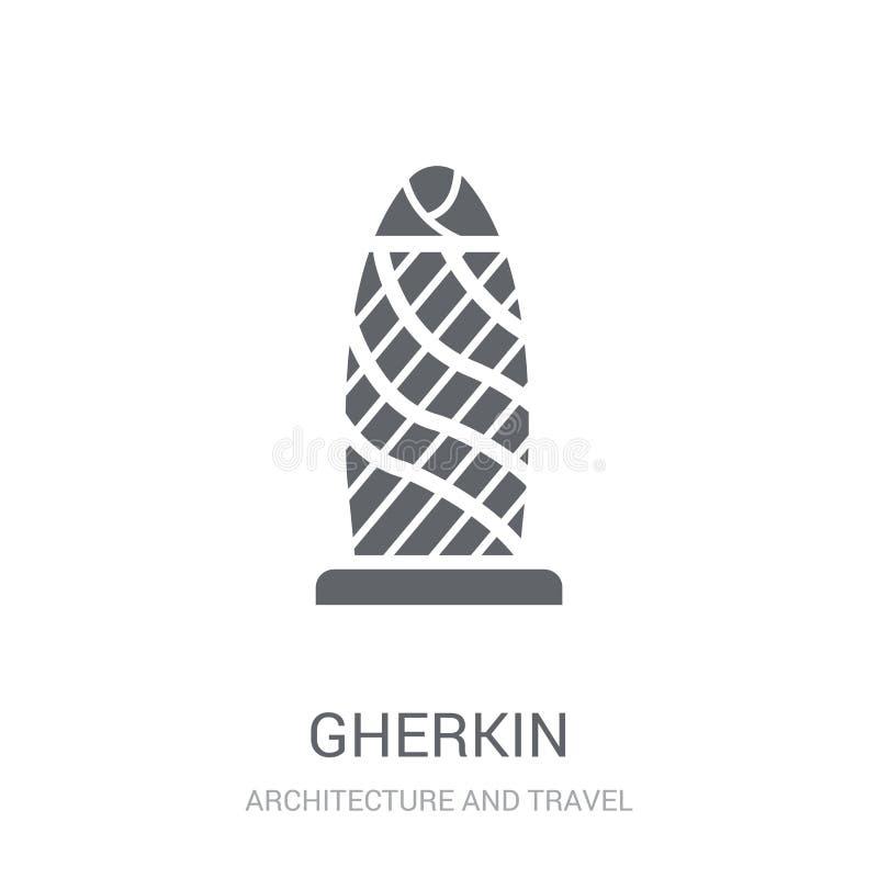 Icono del pepinillo Concepto de moda del logotipo del pepinillo en el fondo blanco franco libre illustration
