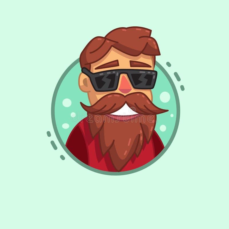Icono del perfil de la barba del inconformista ilustración del vector