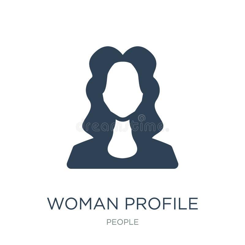 icono del perfil de la mujer en estilo de moda del diseño icono del perfil de la mujer aislado en el fondo blanco icono del vecto ilustración del vector