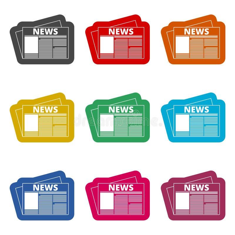 Icono del periódico, icono de las noticias, iconos del color fijados stock de ilustración