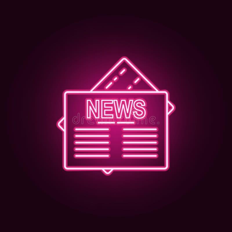 Icono del periódico Elementos de medios en los iconos de neón del estilo Icono simple para las páginas web, diseño web, app móvil ilustración del vector