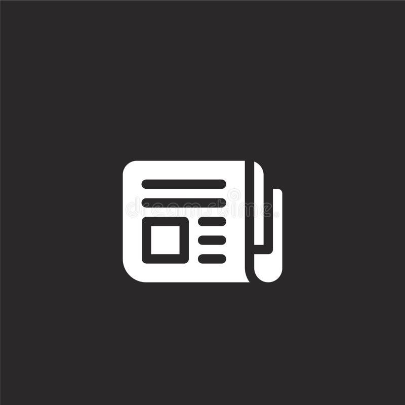 Icono del peri?dico Icono llenado del periódico para el diseño y el móvil, desarrollo de la página web del app icono del periódic stock de ilustración