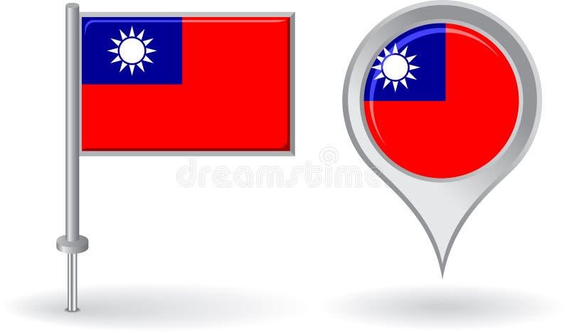 Icono del perno de Birmania y bandera del indicador del mapa Vector libre illustration