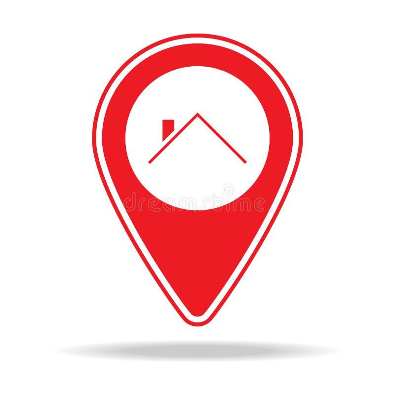 icono del perno del mapa del contratista de techos Elemento del icono amonestador del perno de la navegación para los apps móvile stock de ilustración