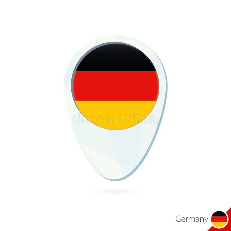 Icono del perno del mapa de ubicación de la bandera de Alemania en el fondo blanco stock de ilustración
