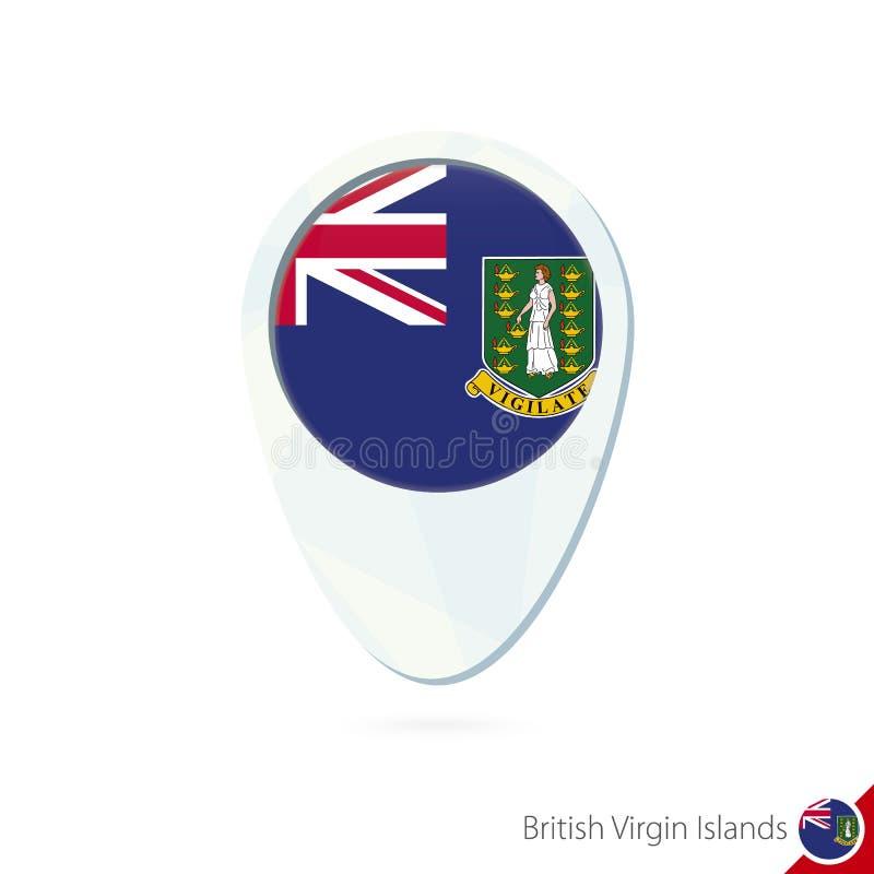 Icono del perno del mapa de ubicación de la bandera de British Virgin Islands en el backg blanco ilustración del vector