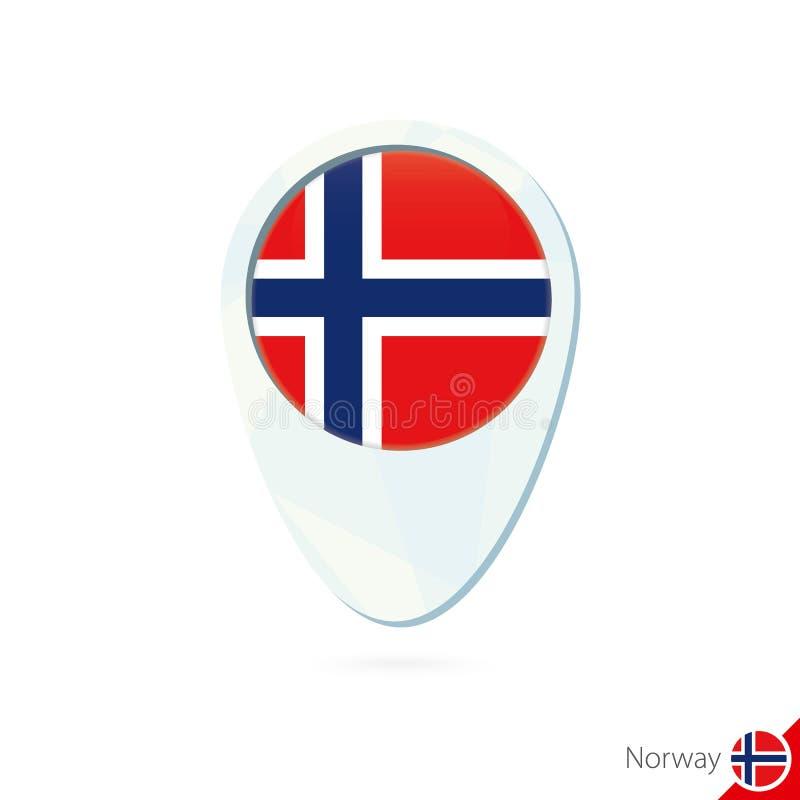 Icono del perno del mapa de ubicación de la bandera de Noruega en el fondo blanco ilustración del vector