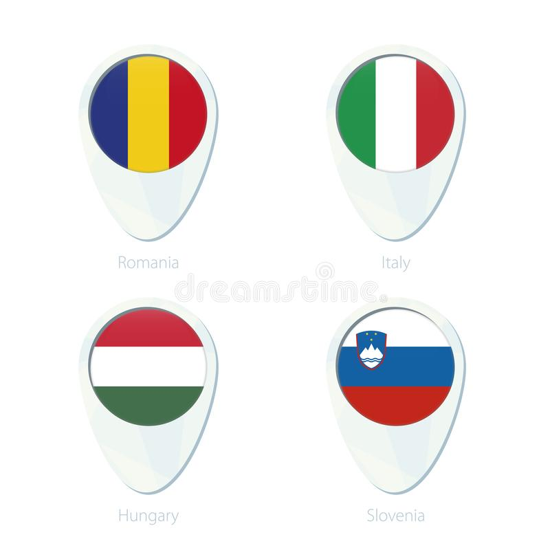 Icono del perno del mapa de ubicación de la bandera de Rumania, Italia, Hungría, Eslovenia libre illustration