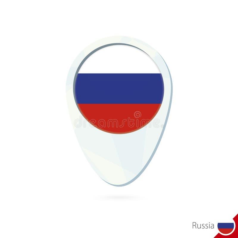 Icono del perno del mapa de ubicación de la bandera de Rusia en el fondo blanco libre illustration