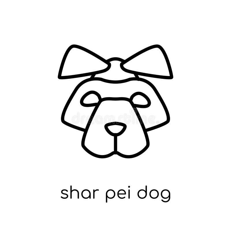 Icono del perro de Shar Pei Perro linear plano moderno de moda de Shar Pei del vector stock de ilustración