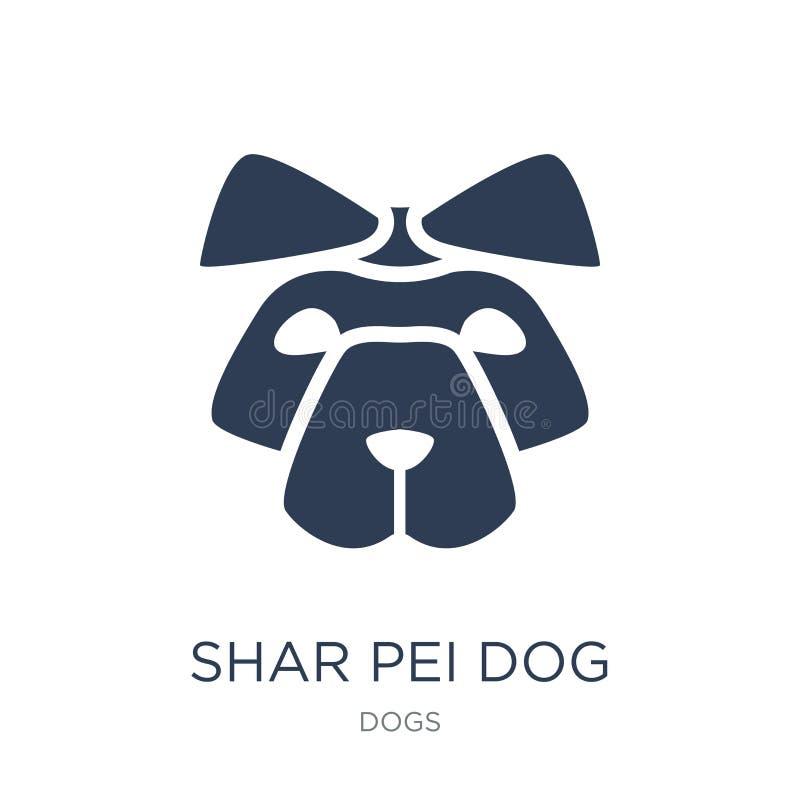 Icono del perro de Shar Pei Icono plano de moda del perro de Shar Pei del vector en blanco libre illustration
