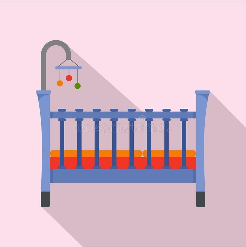 Icono del pesebre del bebé, estilo plano libre illustration