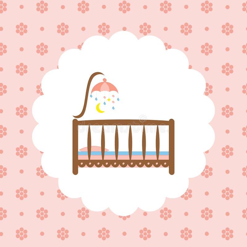 Icono Del Pesebre Del Bebé En Estampado De Flores Ilustración del ...
