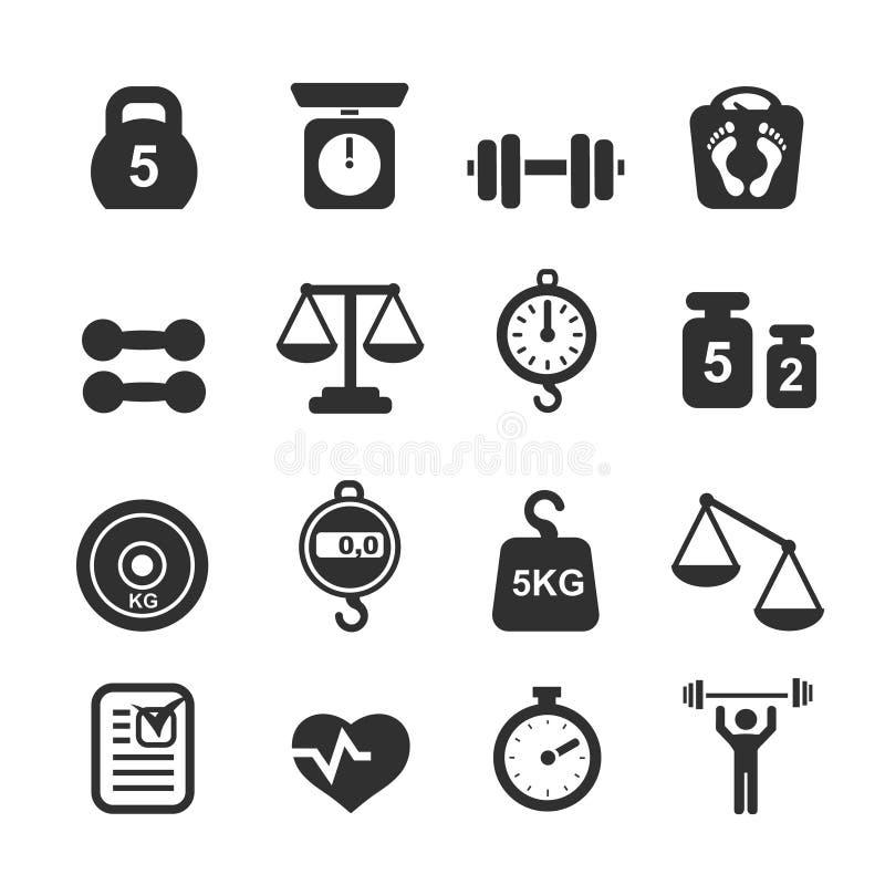 Icono del peso fijado - escalas stock de ilustración