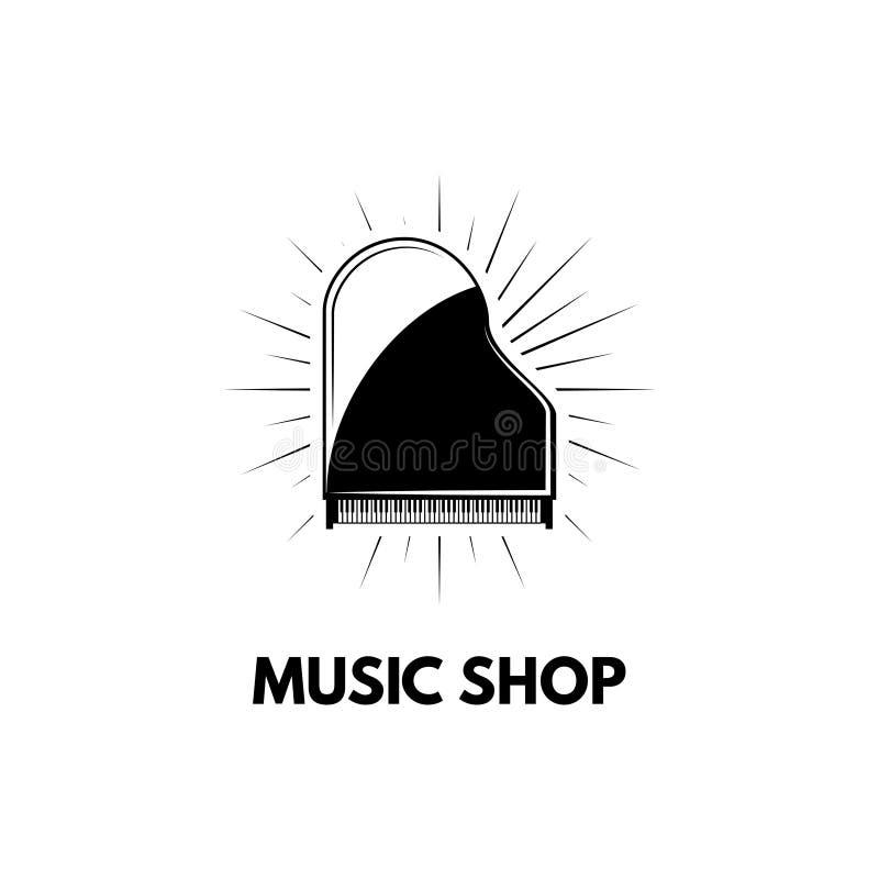 Icono del piano de cola Etiqueta del logotipo de la tienda de la tienda de la música Instrumento musical Vector stock de ilustración