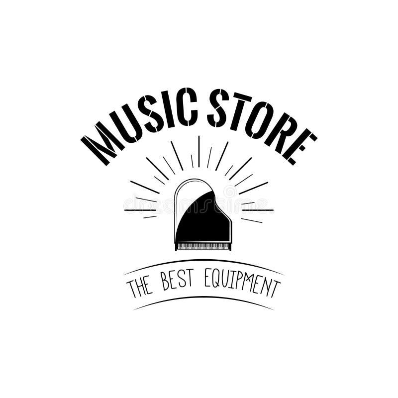 Icono del piano de cola Logotipo de la etiqueta de la tienda de la música Instrumento musical Vector libre illustration