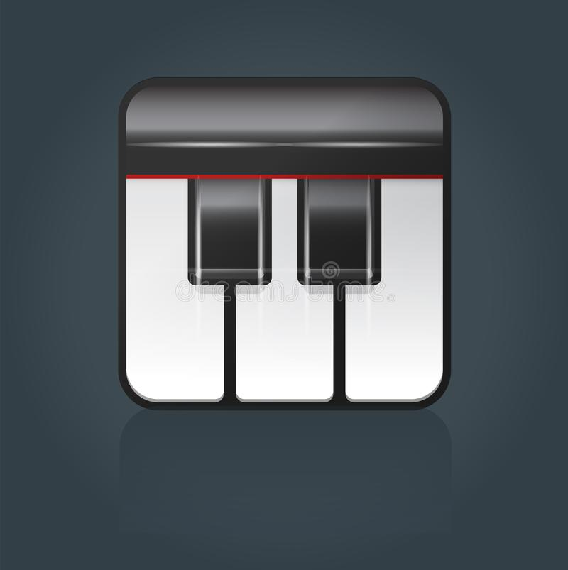 Icono del piano de cola del vector para el software de la música stock de ilustración