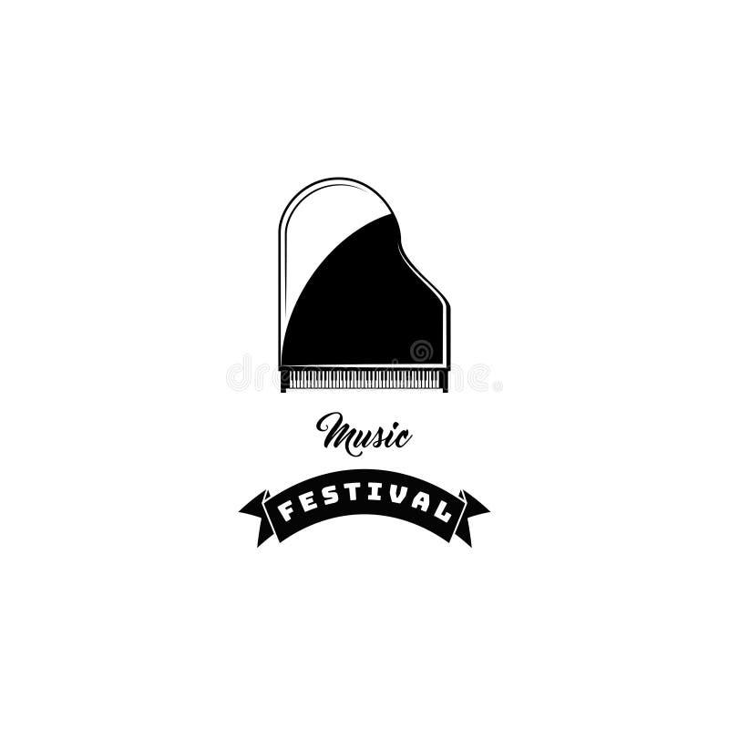 Icono del piano Instrumento musical Logotipo del festival de música Vector stock de ilustración