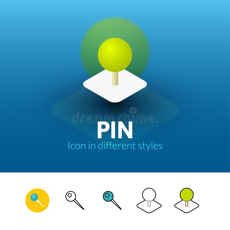 Icono del Pin en diverso estilo stock de ilustración
