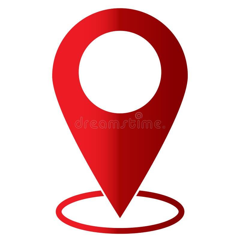 Icono del Pin en el fondo blanco Estilo plano muestra del mapa ilustración del vector