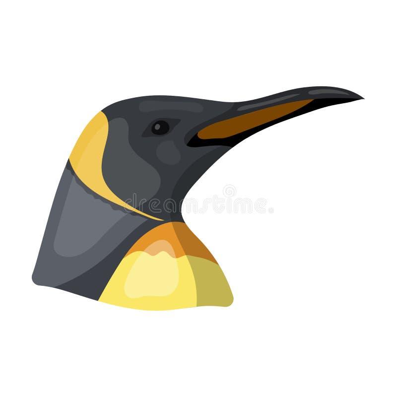 Icono del pingüino en estilo de la historieta en el fondo blanco Ejemplo realista del vector de la acción del símbolo de los anim ilustración del vector