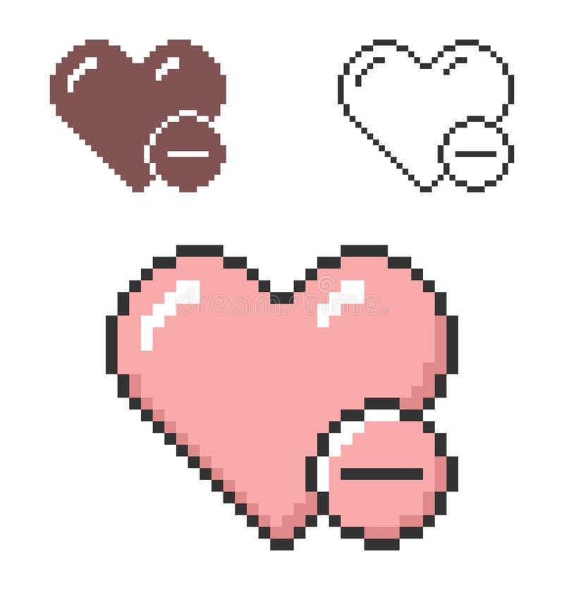 Icono del pixel del corazón con el signo de menos stock de ilustración