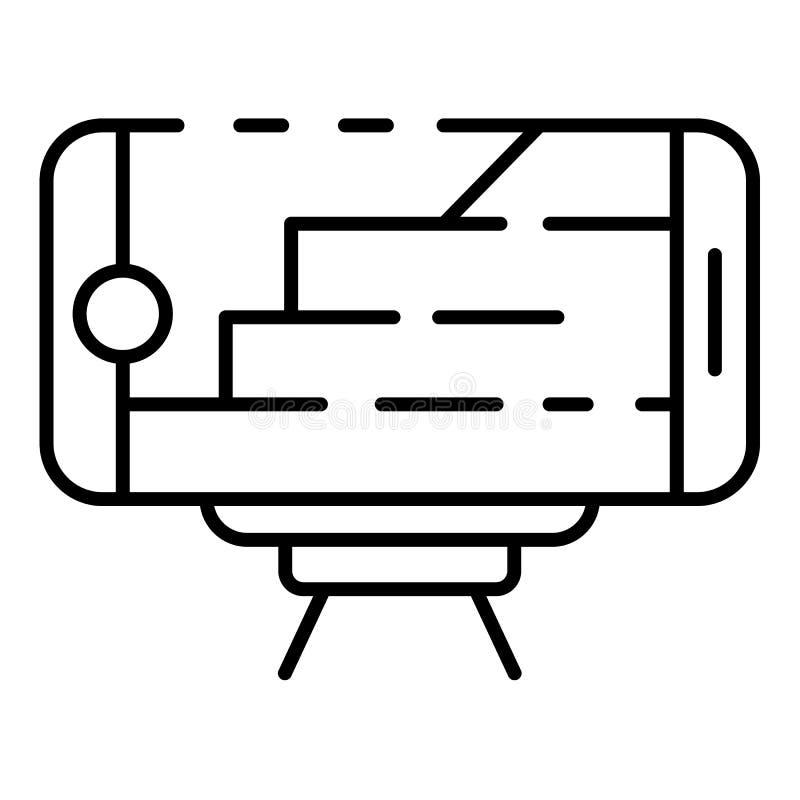 Icono del plan de la arquitectura de Smartphone, estilo del esquema ilustración del vector
