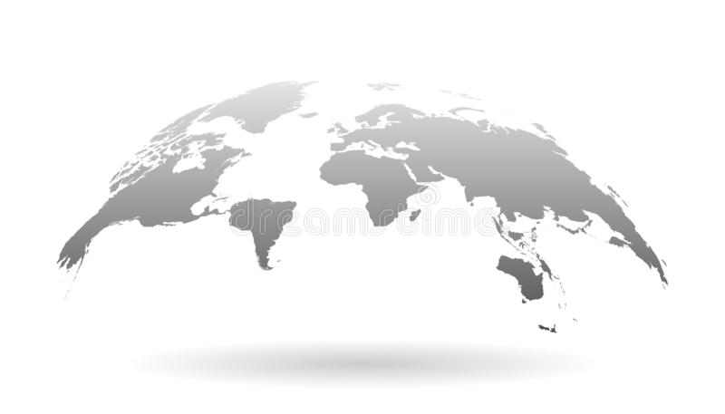 Icono del planeta de la tierra en estilo plano illustratio del vector del mapa del mundo 3D stock de ilustración