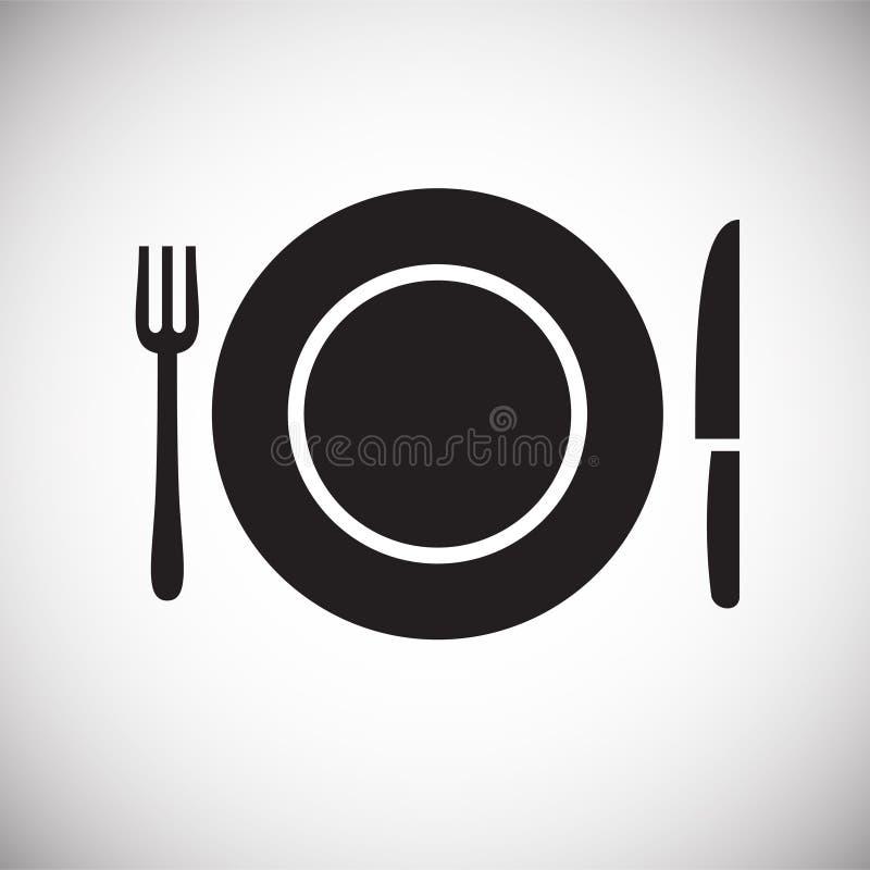 Icono del plato en el fondo blanco para el gráfico y el diseño web, muestra simple moderna del vector Concepto del Internet Símbo stock de ilustración