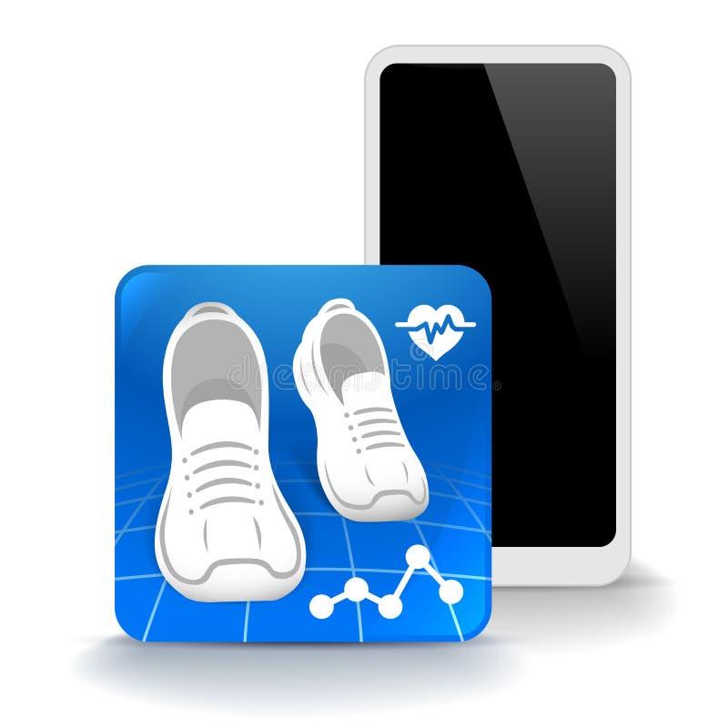 Icono del podómetro para la aplicación móvil aislado en el fondo blanco Ilustración del vector stock de ilustración
