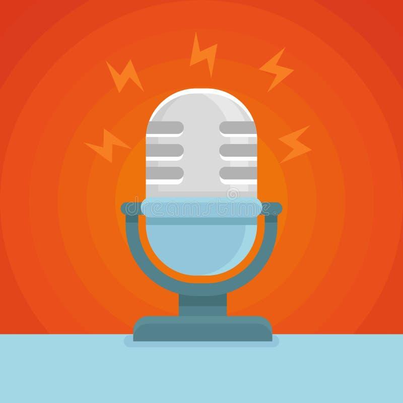 Icono del podcast del vector en icono plano ilustración del vector