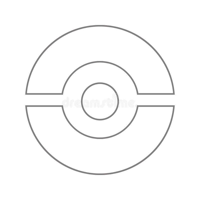 icono del pokeball Elemento de la seguridad cibernética para el concepto y el icono móviles de los apps de la web Línea fina icon libre illustration