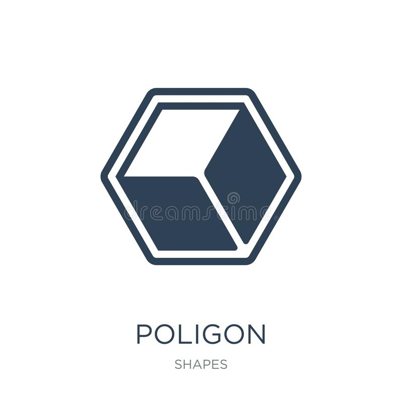 icono del poligon en estilo de moda del diseño icono del poligon aislado en el fondo blanco símbolo plano simple y moderno del ic stock de ilustración