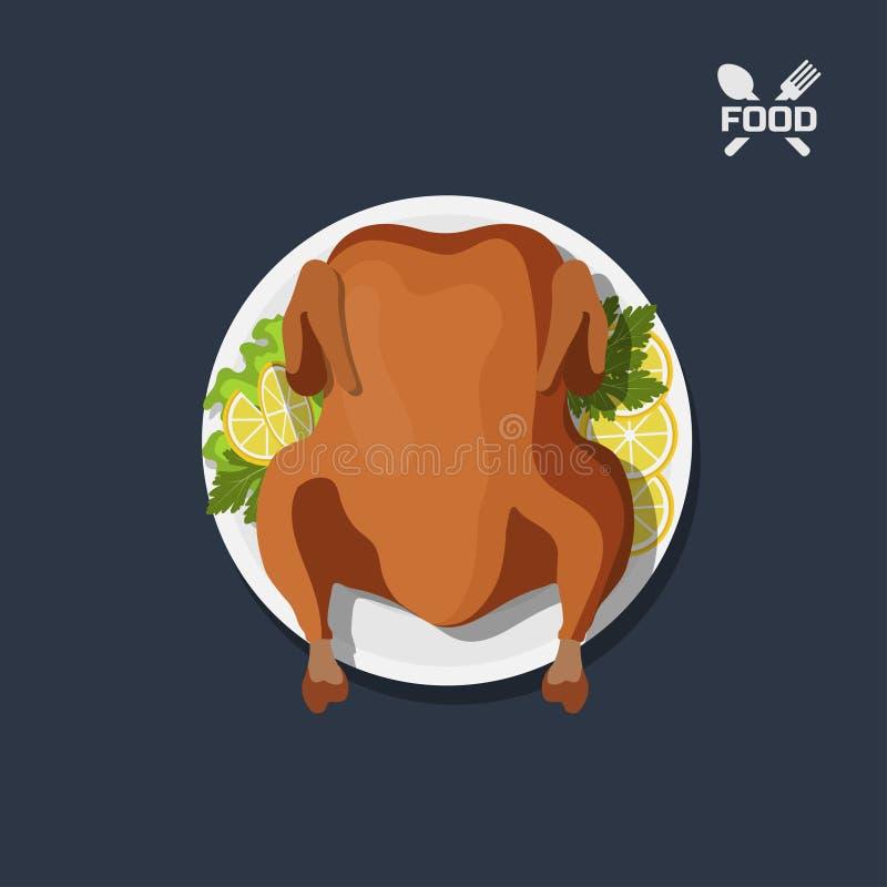 Icono del pollo asado en la placa Visión superior Plato de la barbacoa Cena del ` s de la carne Imagen del pavo de la Navidad stock de ilustración