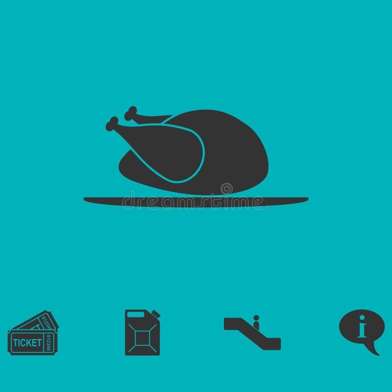 Icono del pollo plano stock de ilustración