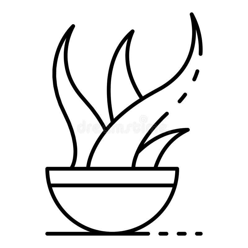 Icono del pote de la planta de Vera del áloe, estilo del esquema ilustración del vector