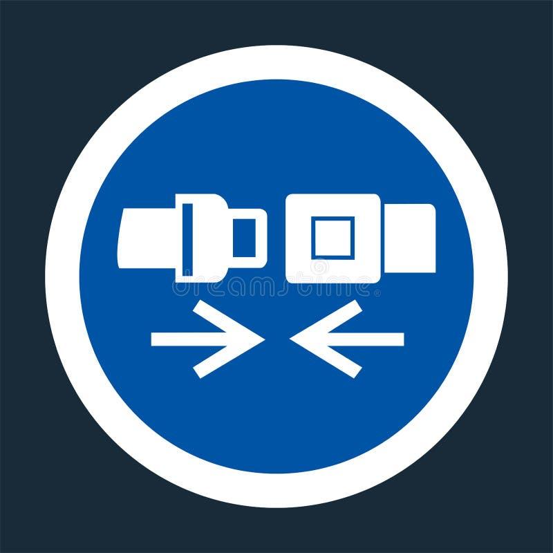 Icono del PPE Muestra del símbolo del cinturón de seguridad del desgaste en fondo negro en el fondo negro, llustration del vector ilustración del vector