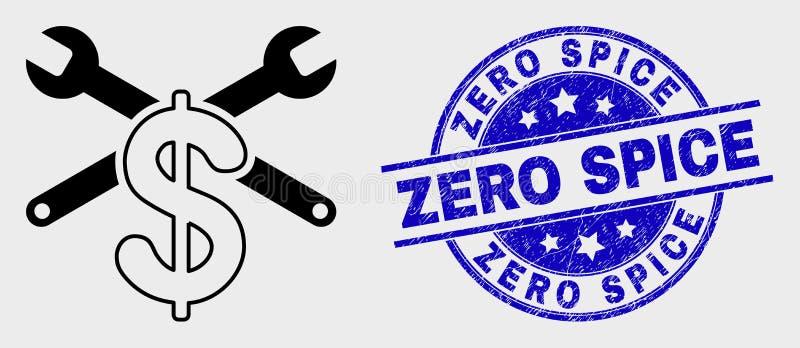 Icono del precio de la reparación del esquema del vector y sello cero rasguñado del sello de la especia libre illustration