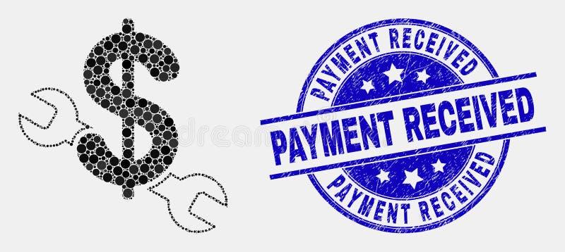 Icono del precio de la reparación de Pixelated del vector y filigrana recibida pago rasguñada ilustración del vector